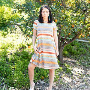 LulaRoe Jessie Swing Dress - Bold Print - SZ S
